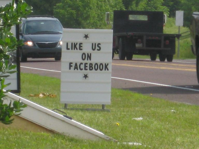 Like us on Facebook in the highway...